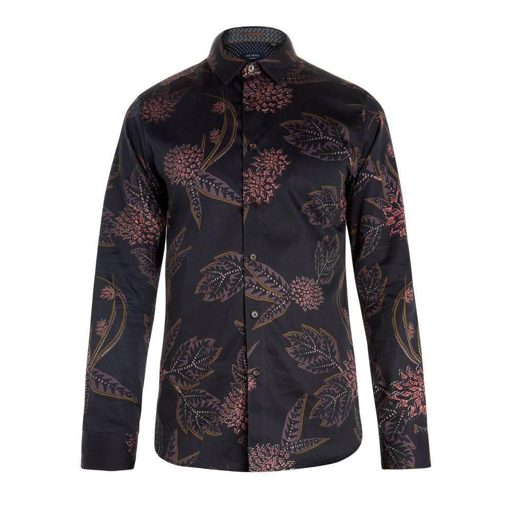 テッドベーカー Ted Baker メンズ トップス シャツ【Notting Floral Print Cotton Shirt】navy