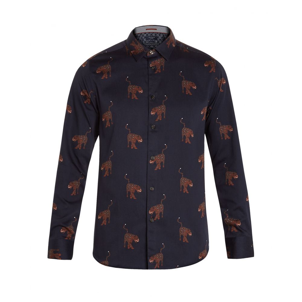 テッドベーカー Ted Baker メンズ トップス シャツ【Pantha Ls Panther Print Shirt】navy
