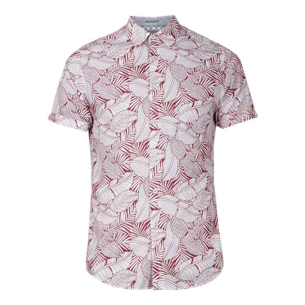 テッドベーカー Ted Baker メンズ トップス シャツ【Whittle Leaf Print Cotton Shirt】pink