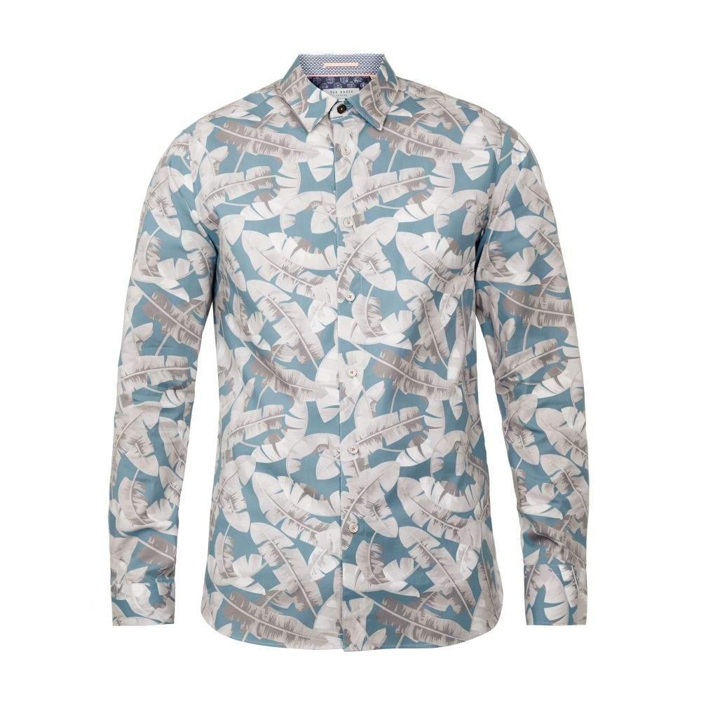 テッドベーカー Ted Baker メンズ トップス シャツ【Ramseys Leaf Print Cotton Shirt】blue