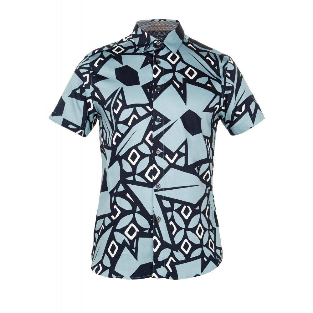 テッドベーカー Ted Baker メンズ トップス シャツ【Histle Statement Print Cotton Shirt】blue