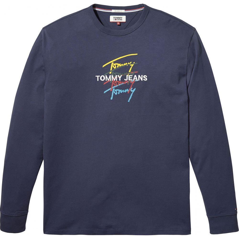 トミー ヒルフィガー Tommy Hilfiger メンズ トップス 長袖Tシャツ【Tommy Jeans Long Sleeve Signature T-shirt】dark blue