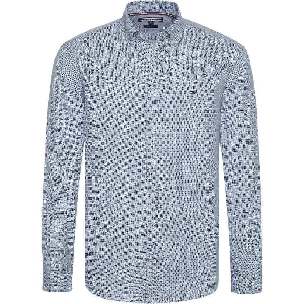 トミー ヒルフィガー Tommy Hilfiger メンズ トップス シャツ【Heather Dot Print Shirt】mid blue