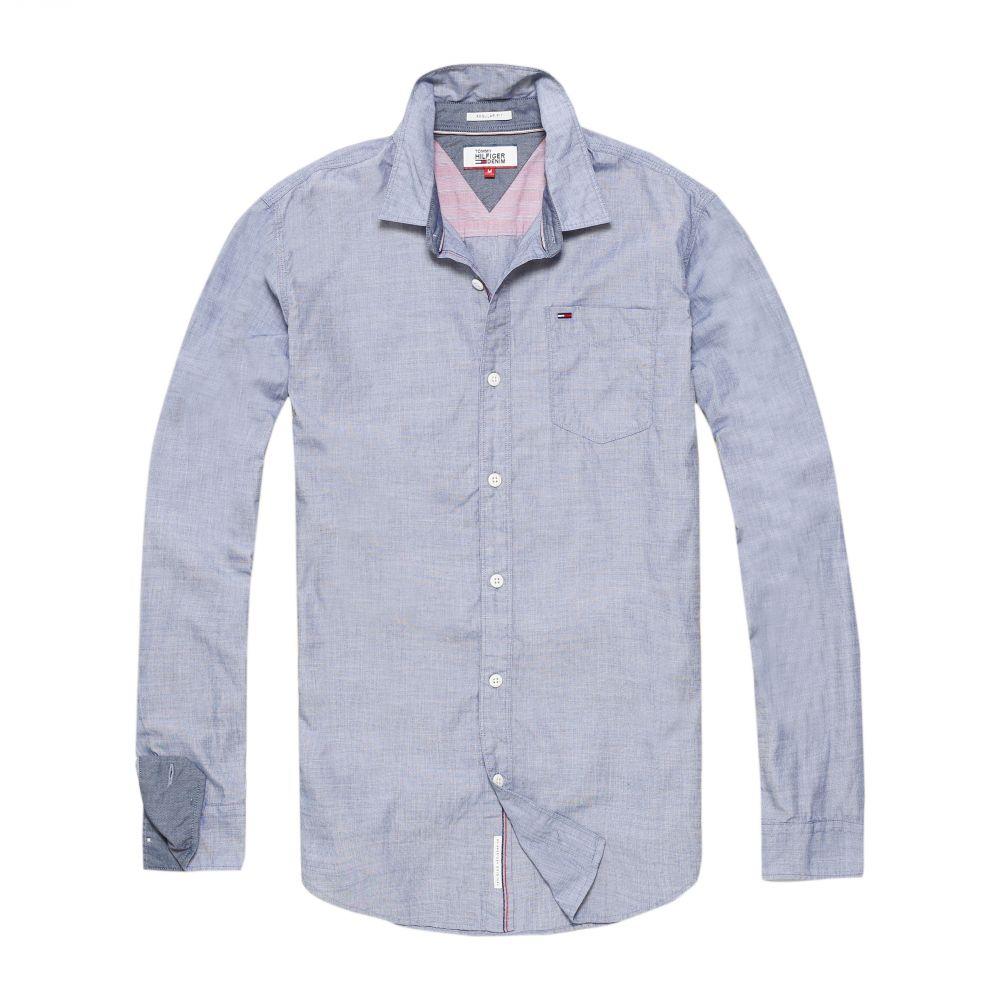トミー ヒルフィガー Tommy Hilfiger メンズ トップス シャツ【Basic Solid Long Sleeve Shirt】navy