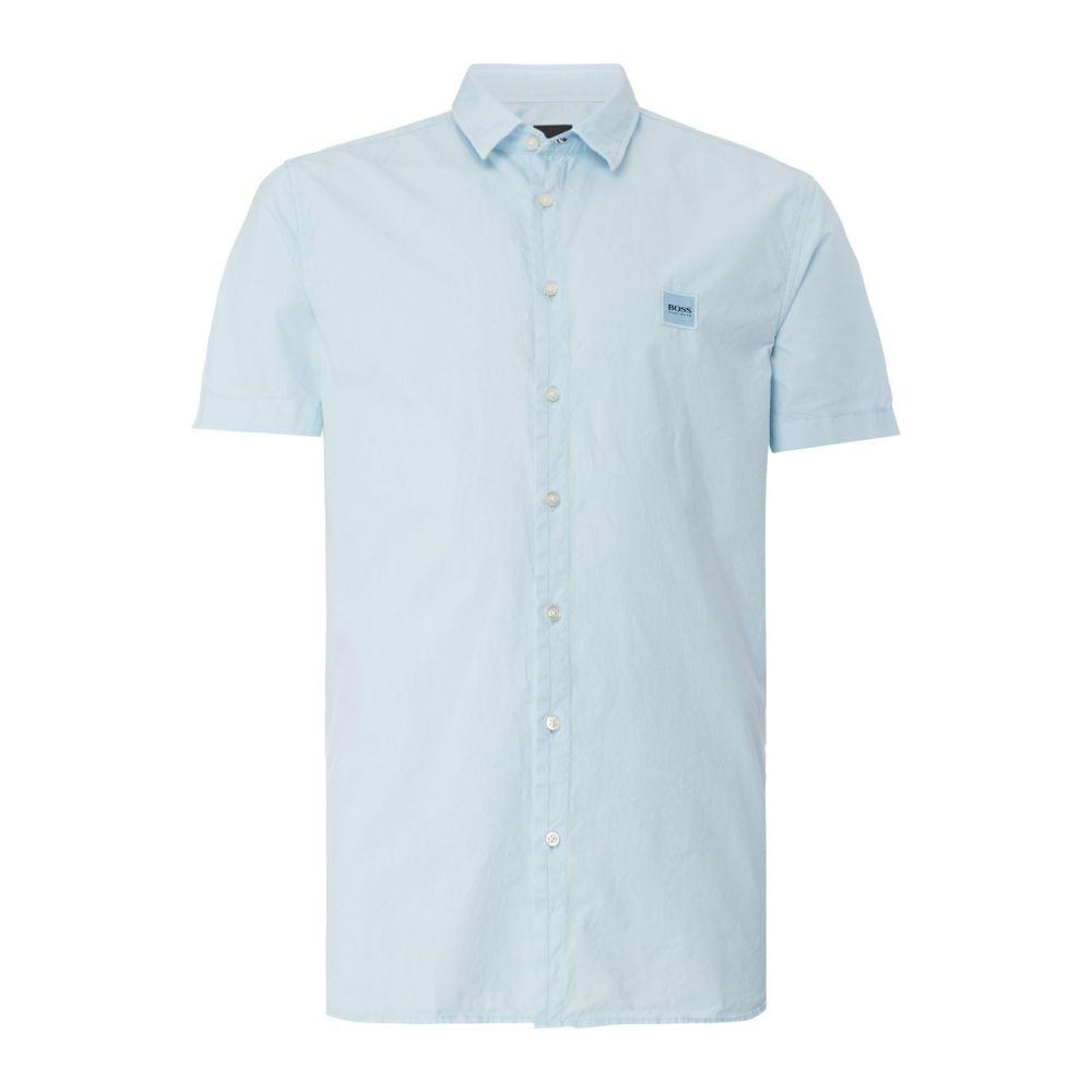 ヒューゴ ボス Hugo Boss メンズ トップス 半袖シャツ【Rebus Square Logo Short Sleeve Shirt】sky