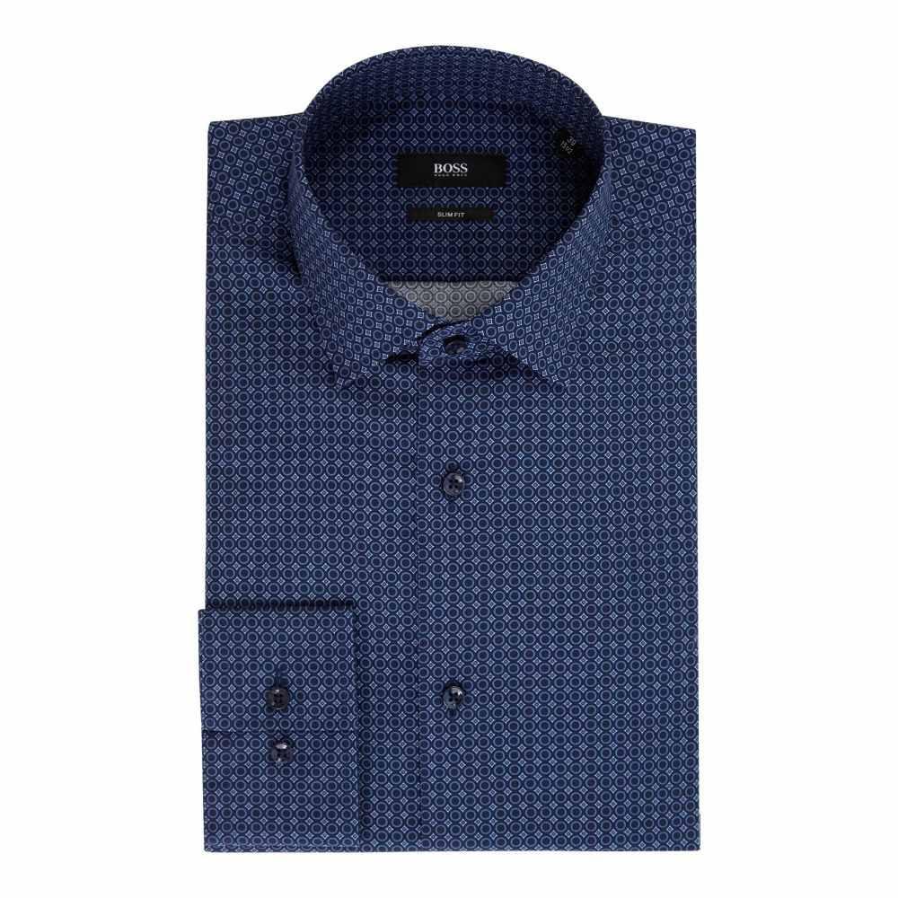 ヒューゴ ボス Hugo Boss メンズ トップス シャツ【Jenno Slim Fit Geo Print Shirt】navy