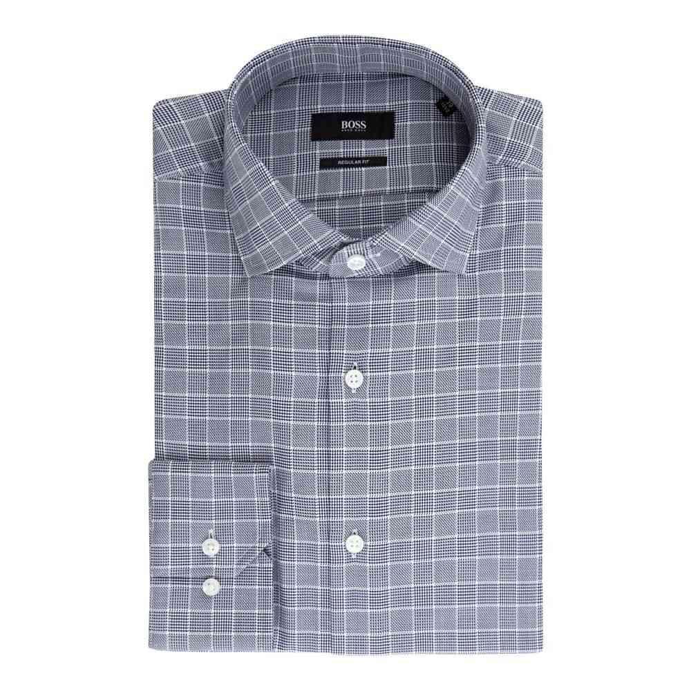 ヒューゴ ボス Hugo Boss メンズ トップス シャツ【Gordon Regular Fit Textured Check Shirt】navy