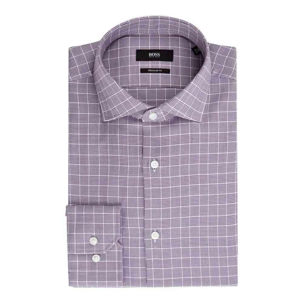 ヒューゴ ボス Hugo Boss メンズ トップス シャツ【Gordon Regular Fit Textured Check Shirt】berry