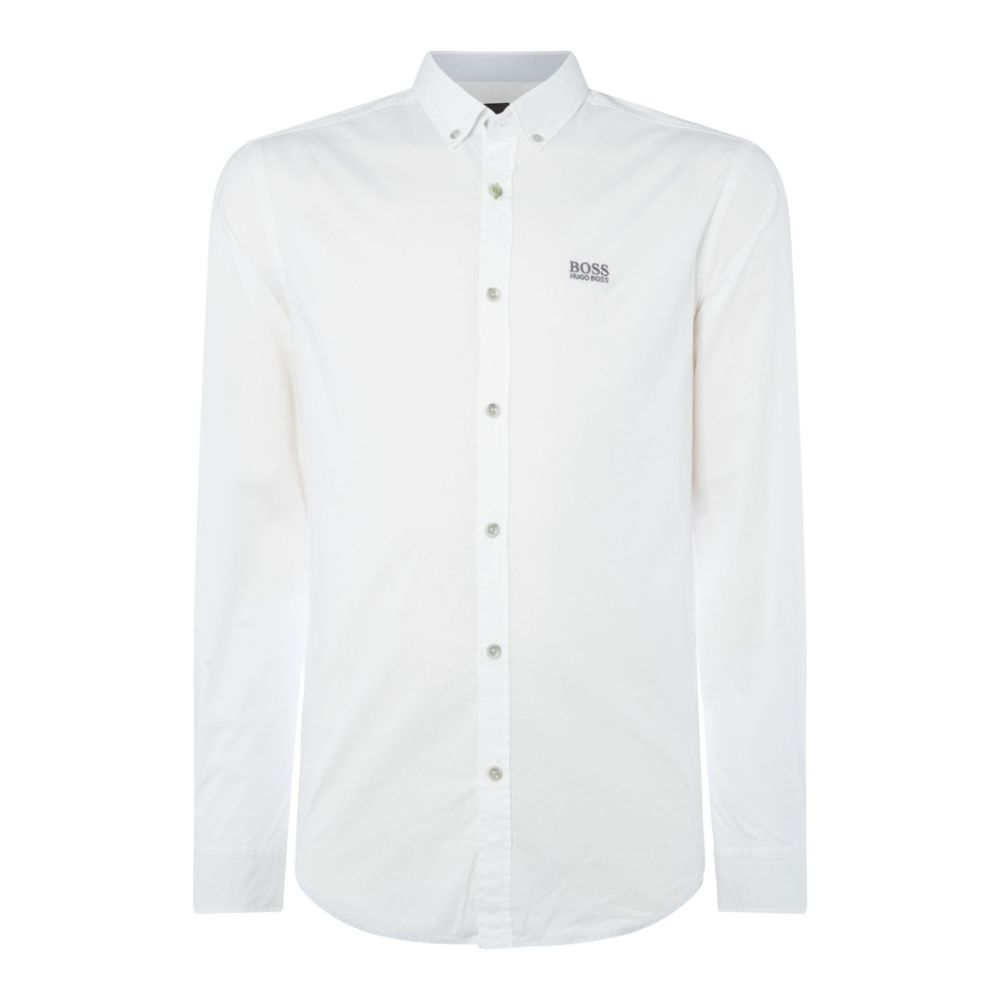 ヒューゴ ボス Hugo Boss メンズ トップス シャツ【Biado Regular Fit Contrast Logo Shirt】white