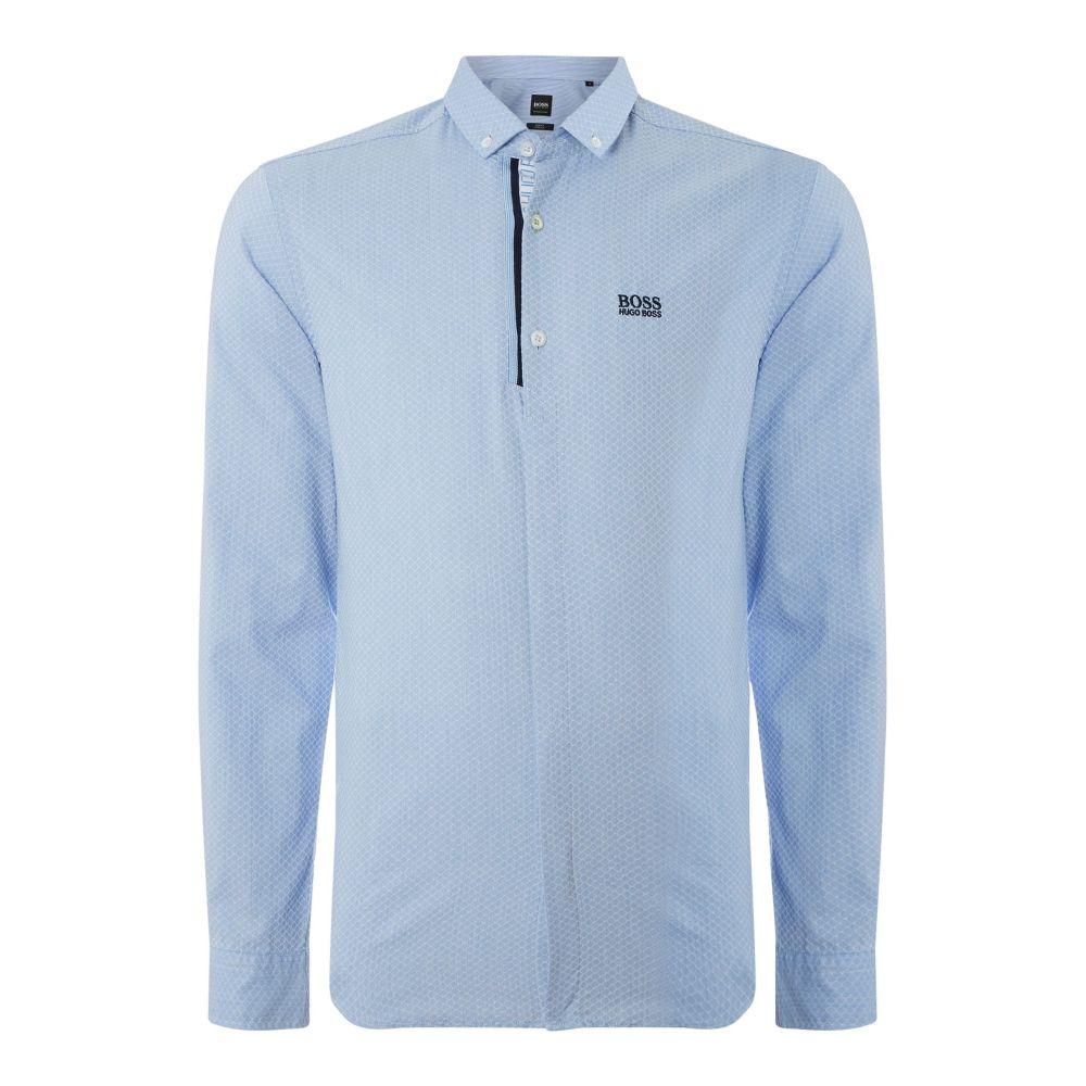 ヒューゴ ボス Hugo Boss メンズ トップス シャツ【Boria Slim Fit Honeycomb Shirt】sky