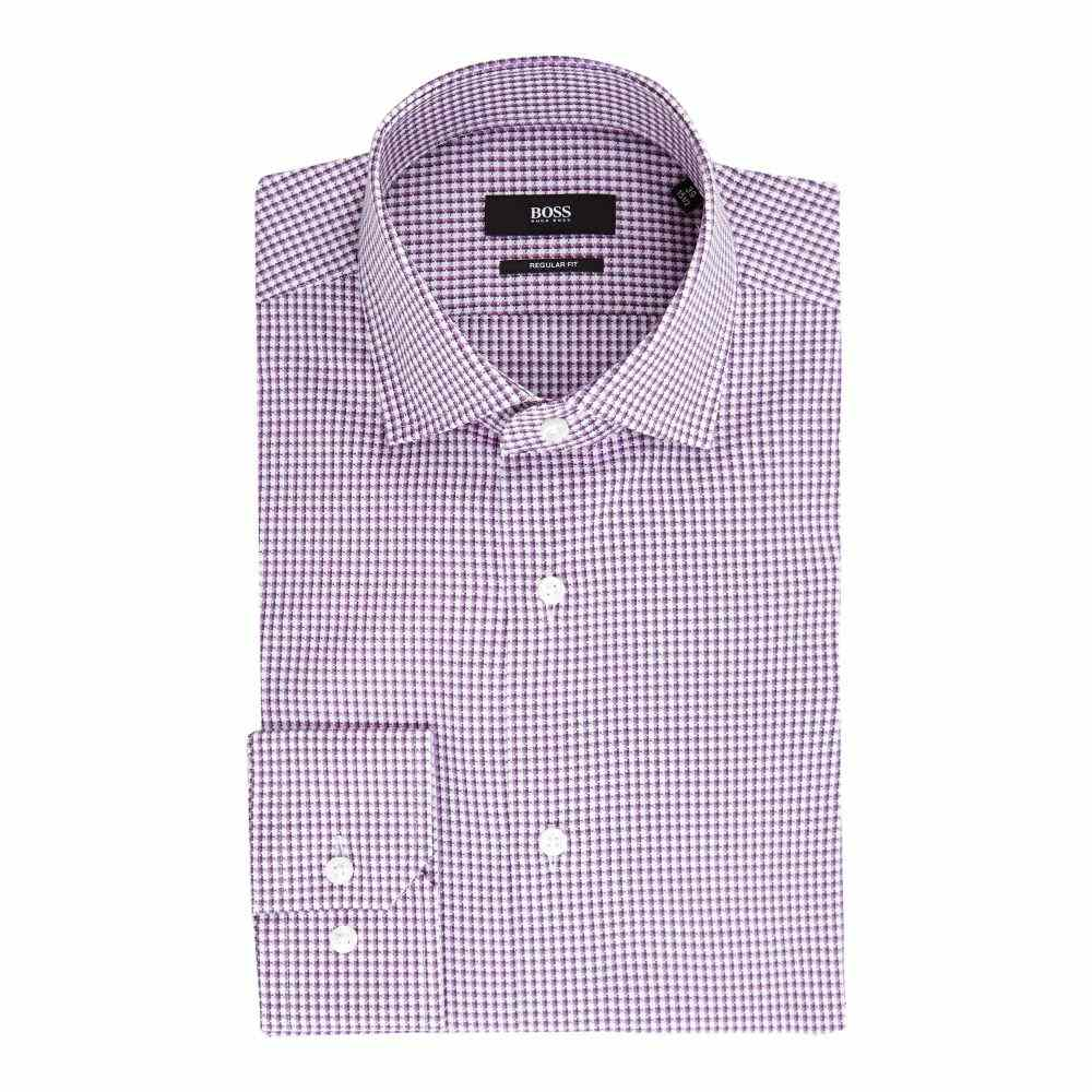 ヒューゴ ボス Hugo Boss メンズ トップス シャツ【Gordon Regular Fit Layered Grid Check Shirt】berry