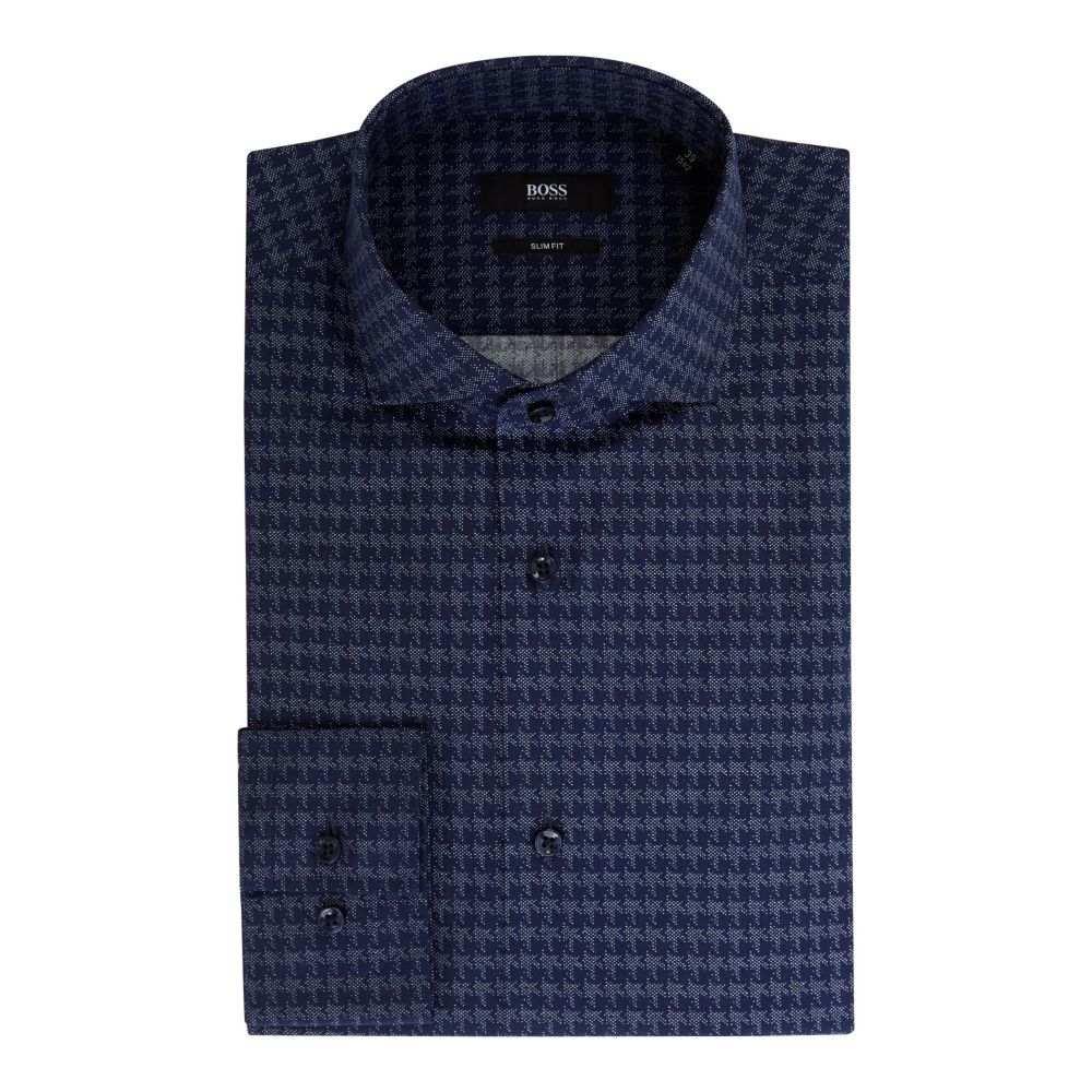 ヒューゴ ボス Hugo Boss メンズ トップス シャツ【Jason Slim Fit Jumbo Houndstooth Shirt】navy