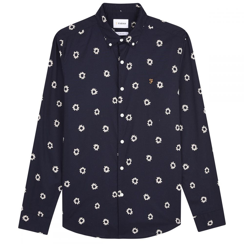 ファーラー Farah メンズ トップス シャツ【Long Sleeve Print Shirt】navy