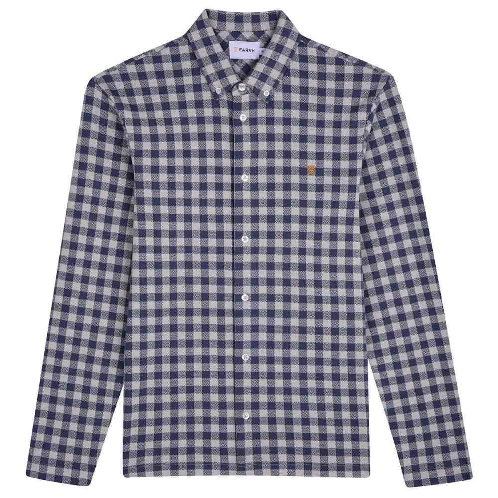 ファーラー Farah メンズ トップス シャツ【Bobby Long Sleeve Checked Jersey Shirt】navy & white