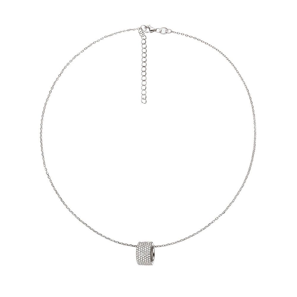 フォリフォリ Folli Follie レディース ジュエリー・アクセサリー ネックレス【Fashionably Silver Hoop Necklace】