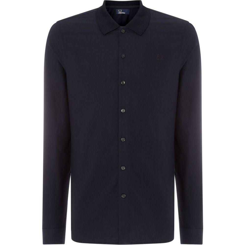フレッドペリー Fred Perry メンズ トップス シャツ【Long Sleeve Knitted Collar Oxford】navy