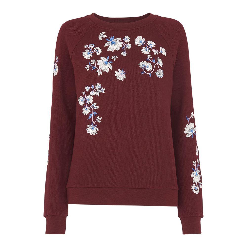 ホイッスルズ Whistles レディース トップス ニット・セーター【Sienna Embroidered Sweater】burgundy