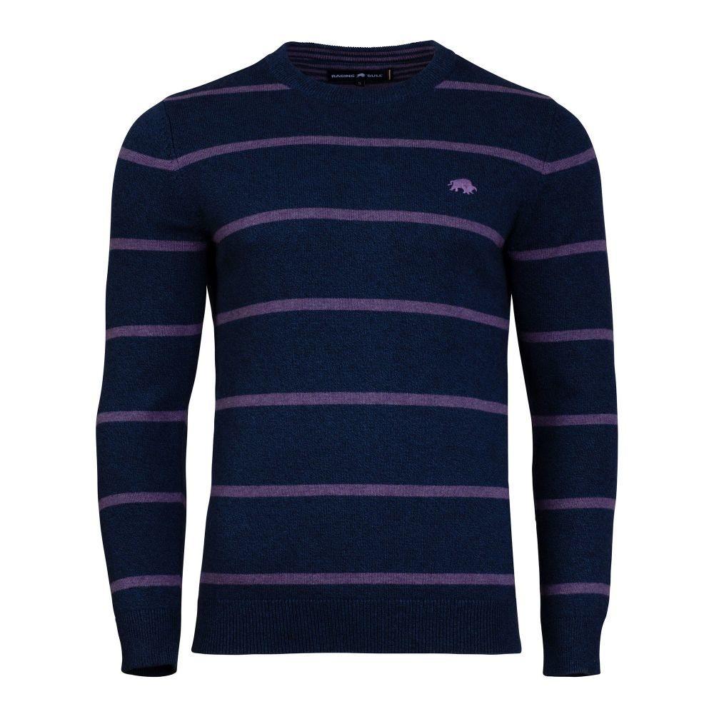 ライジング ブル Raging Bull メンズ トップス ニット・セーター【Big And Tall Crew Neck Striped Sweater】purple