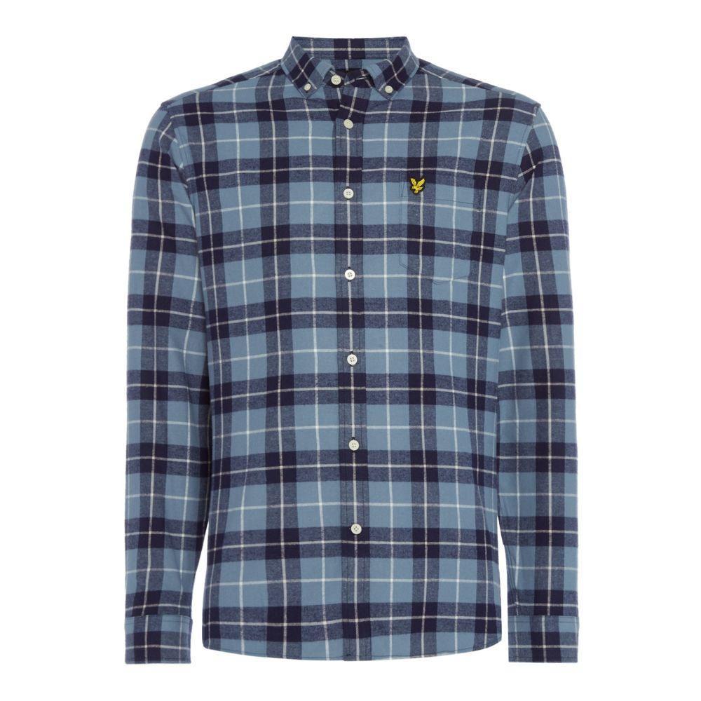 ライル アンド スコット Lyle and Scott メンズ トップス シャツ【Long Sleeve Check Flannel Shirt】glacier blue