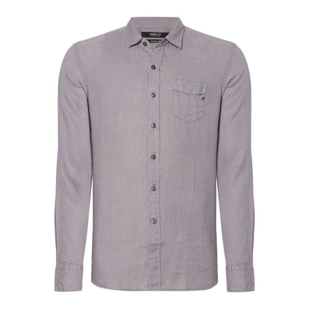 リプレイ Replay メンズ トップス シャツ【Linen Shirt With Chest Pocket】grey