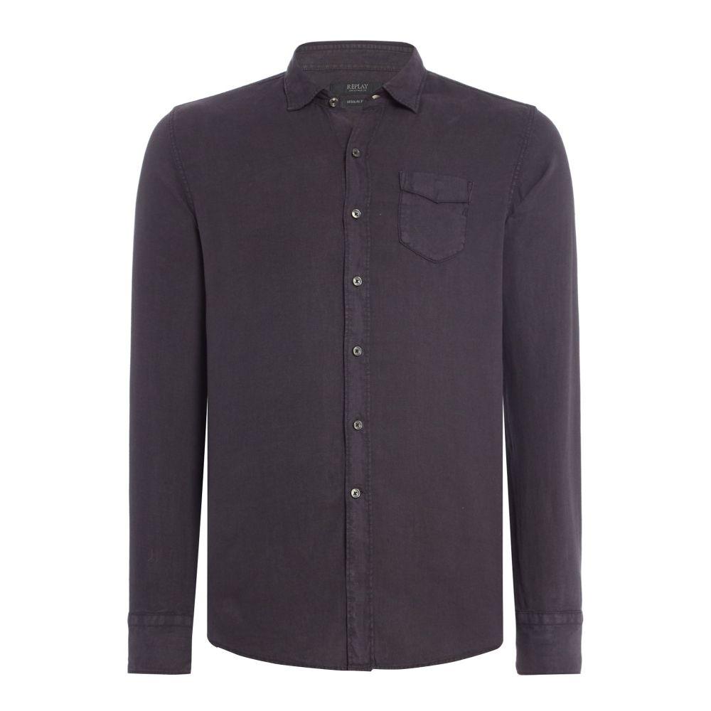 リプレイ Replay メンズ トップス シャツ【Linen Shirt With Chest Pocket】nearly black