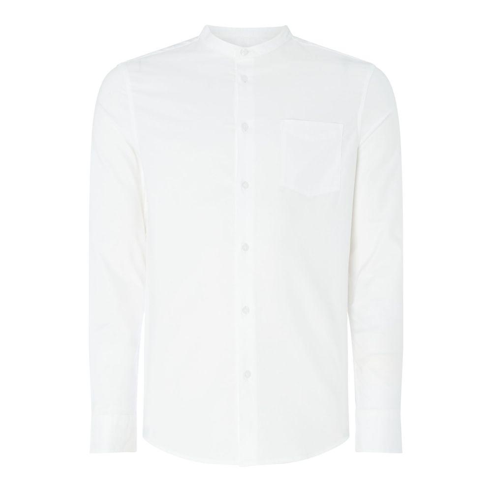リネアペレ Linea メンズ トップス シャツ【Hanson Stretch Slim Fit Grandad Oxford Shirt】white