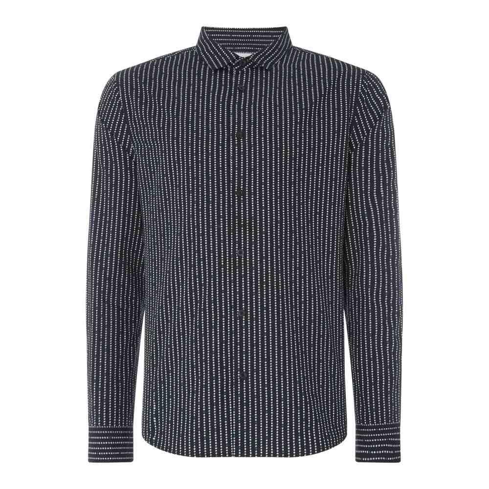 リネアペレ Linea メンズ トップス シャツ【Roche Striped Spot Print Shirt】navy