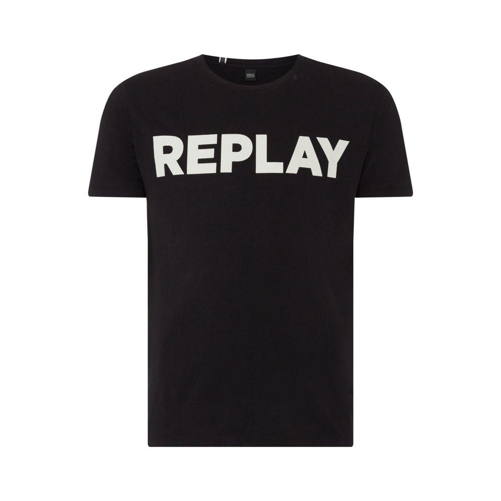 リプレイ Replay メンズ トップス Tシャツ【Cotton T-shirt Printed Logo】black