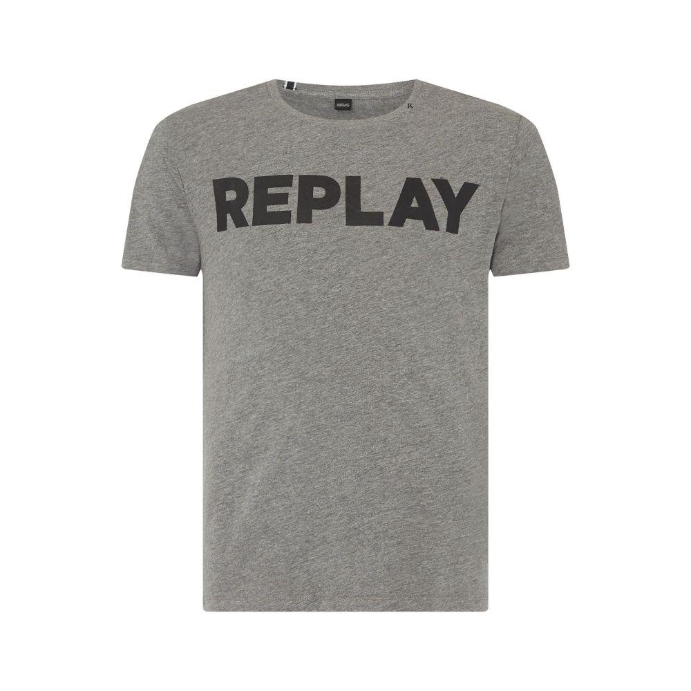リプレイ Replay メンズ トップス Tシャツ【Cotton T-shirt Printed Logo】dark grey