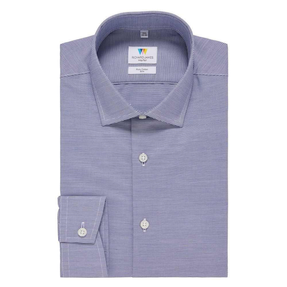 リチャード ジェームス Richard James Mayfair メンズ トップス シャツ【Horizontal Stripe Slim Fit Shirt】navy