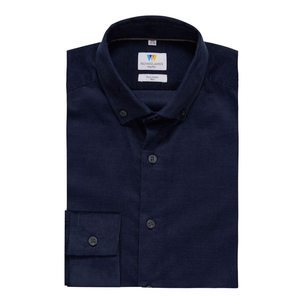 リチャード ジェームス Richard James Mayfair メンズ トップス シャツ【Needlecord Slim Fit Shirt】blue