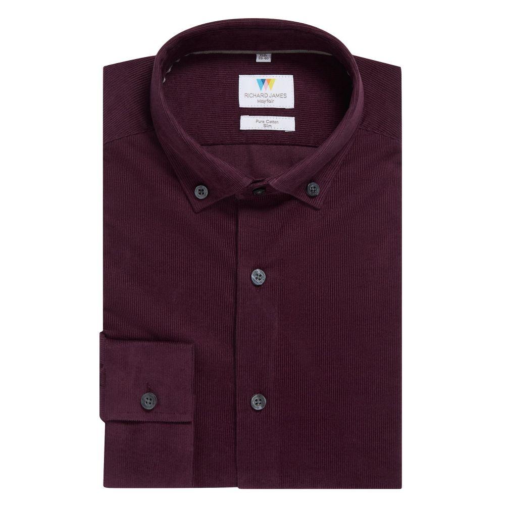 リチャード ジェームス Richard James Mayfair メンズ トップス シャツ【Needlecord Slim Fit Shirt】burgundy