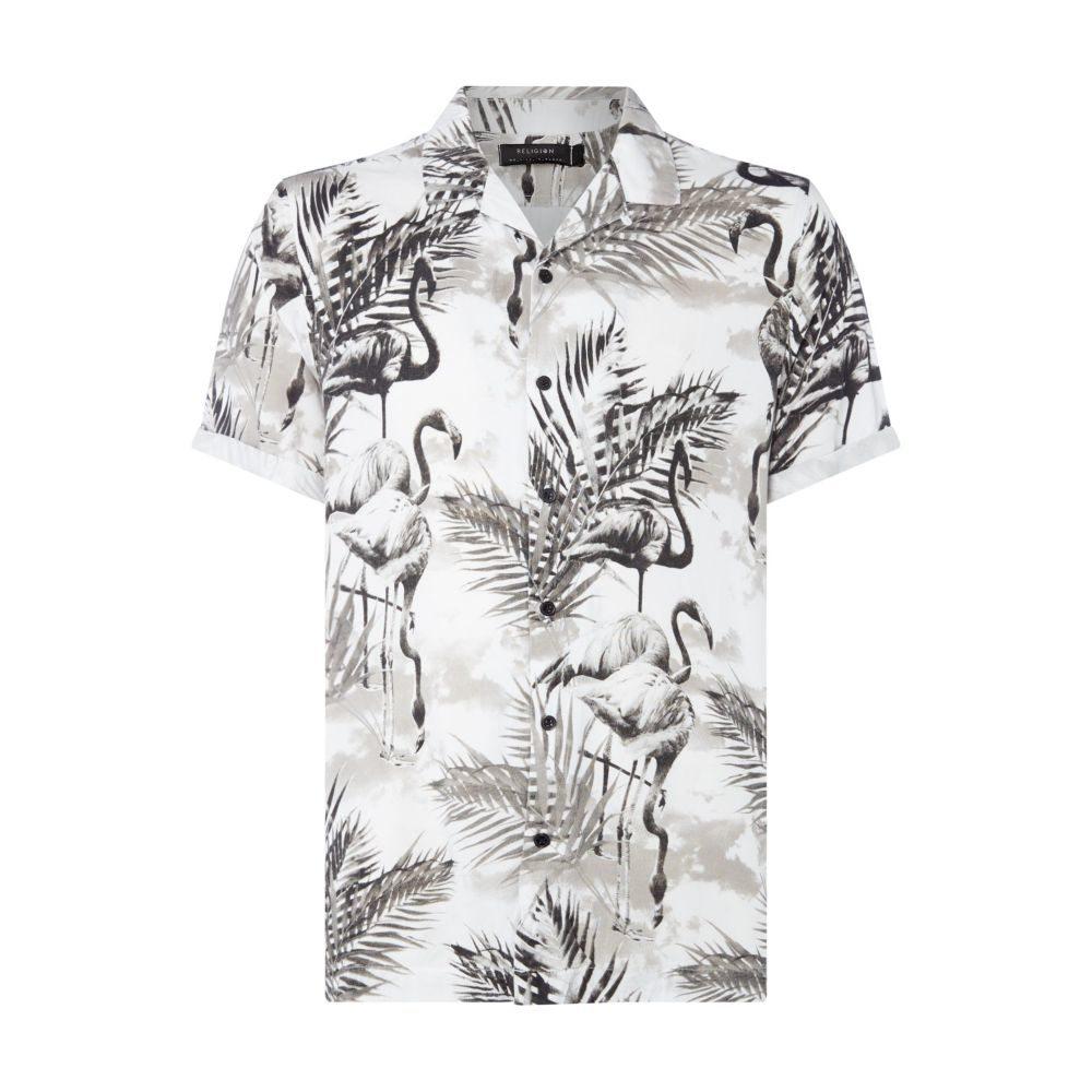 レリジョン Religion メンズ トップス 半袖シャツ【Tropical Flamingo Print Short Sleeve Cuban Shirt】white