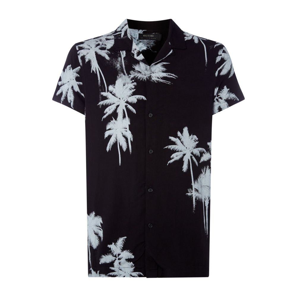 レリジョン Religion メンズ トップス 半袖シャツ【Palm Tree Print Short Sleeve Cuban Shirt Co-ord】black