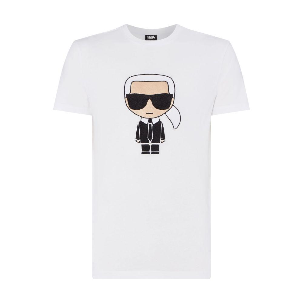 カール ラガーフェルド Karl Lagerfeld メンズ トップス Tシャツ【Large Embroidered Karl T-shirt】white