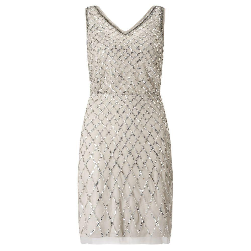 アドリアナ パペル Adrianna Papell レディース ワンピース・ドレス パーティードレス【Beaded Cocktail Dress】silver