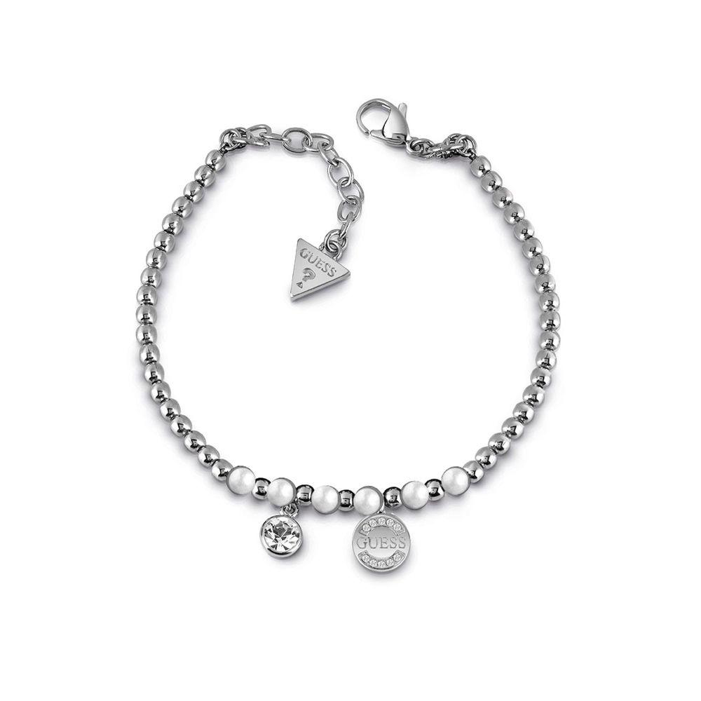 ゲス Guess レディース ジュエリー・アクセサリー ブレスレット【Rhodium Plated Bead Bracelet】silver
