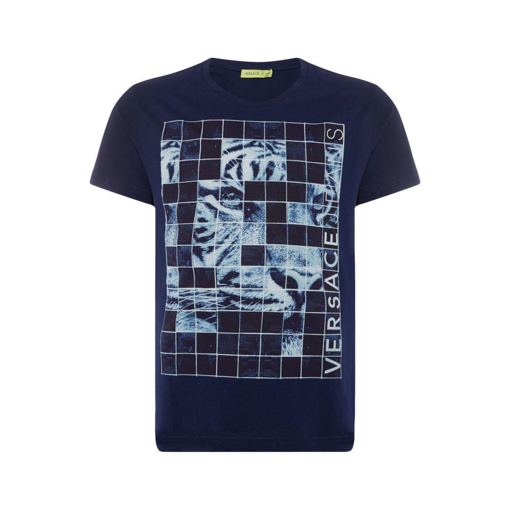 ヴェルサーチ Versace Jeans メンズ トップス Tシャツ【Tiger Grid Print T-shirt】navy
