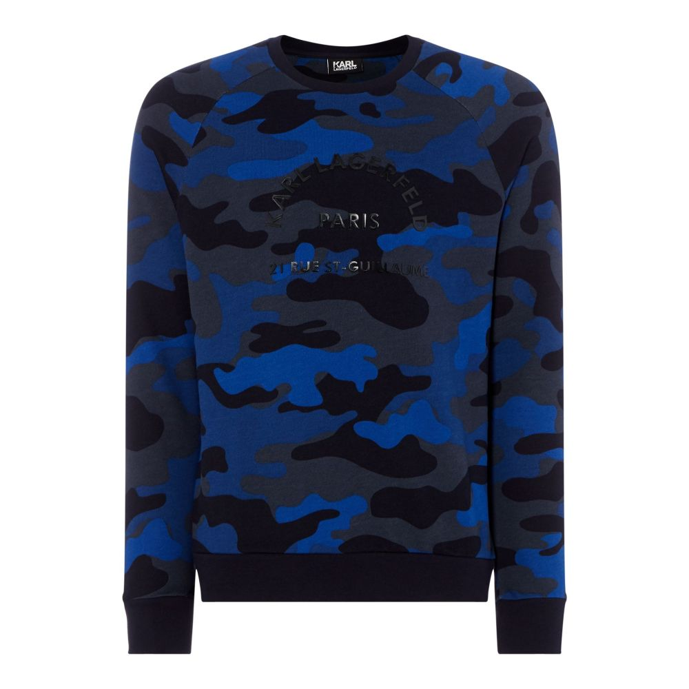 カール ラガーフェルド Karl Lagerfeld メンズ トップス スウェット・トレーナー【Camo Sweatshirt】navy