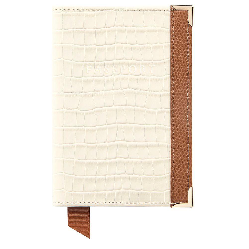 アスピナル オブ ロンドン Aspinal of London レディース パスポートケース【Plain Passport Cover】ivory