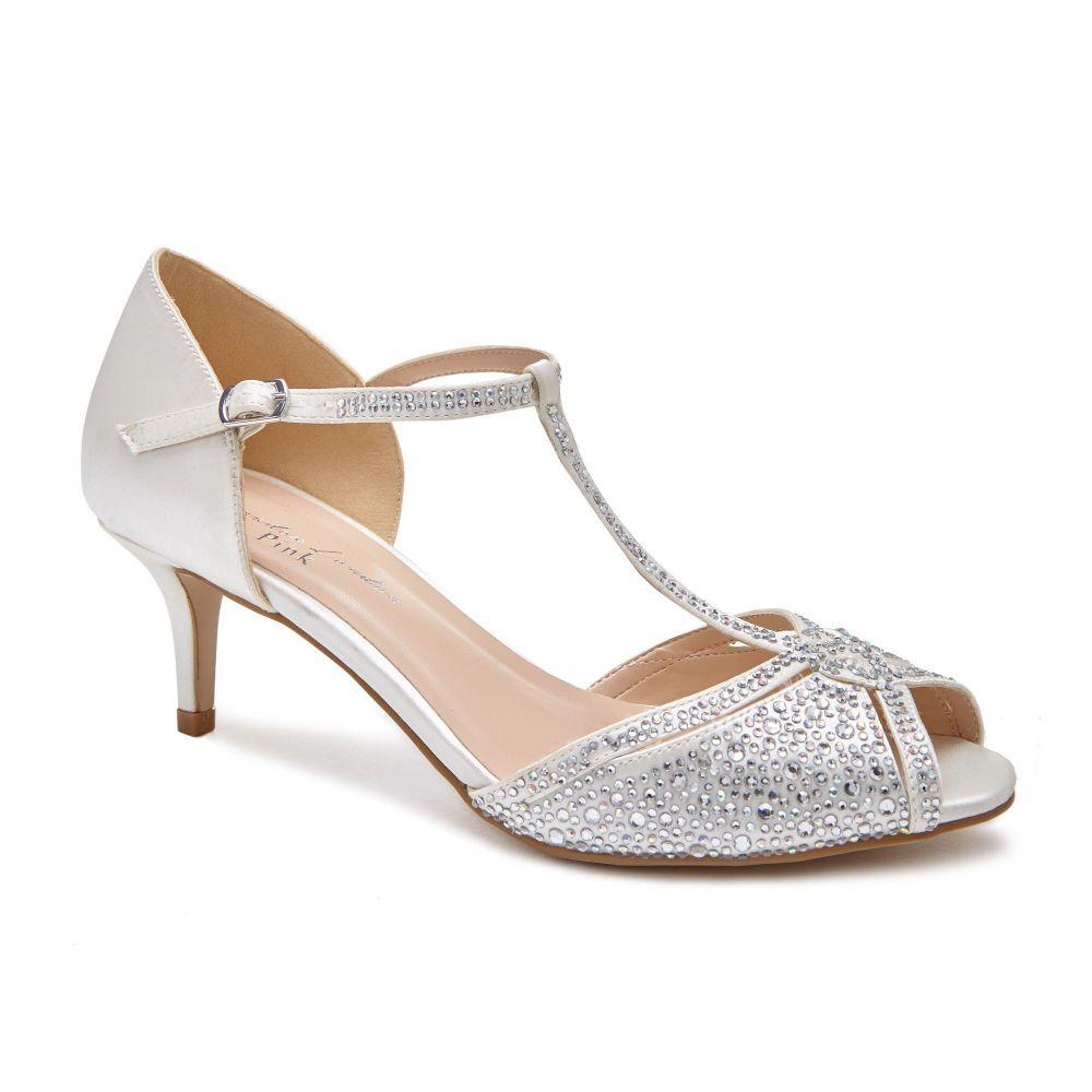 パラドックスロンドンピンク Paradox London Pink レディース シューズ・靴 サンダル・ミュール【Seva Crystal T-bar Peep Toe Shoes】ivory