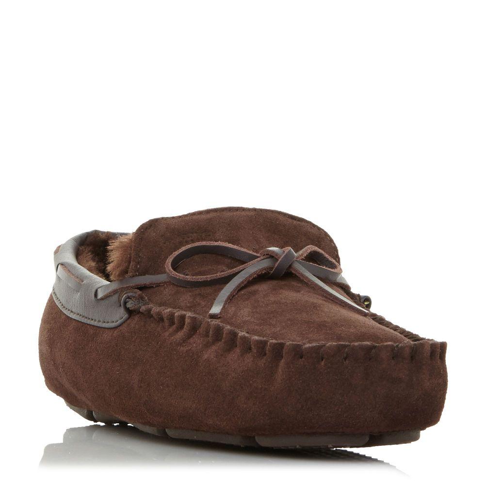 デューン Dune メンズ シューズ・靴 スリッパ【Freeze Faux Fur Tie Moccasins Slippers】brown