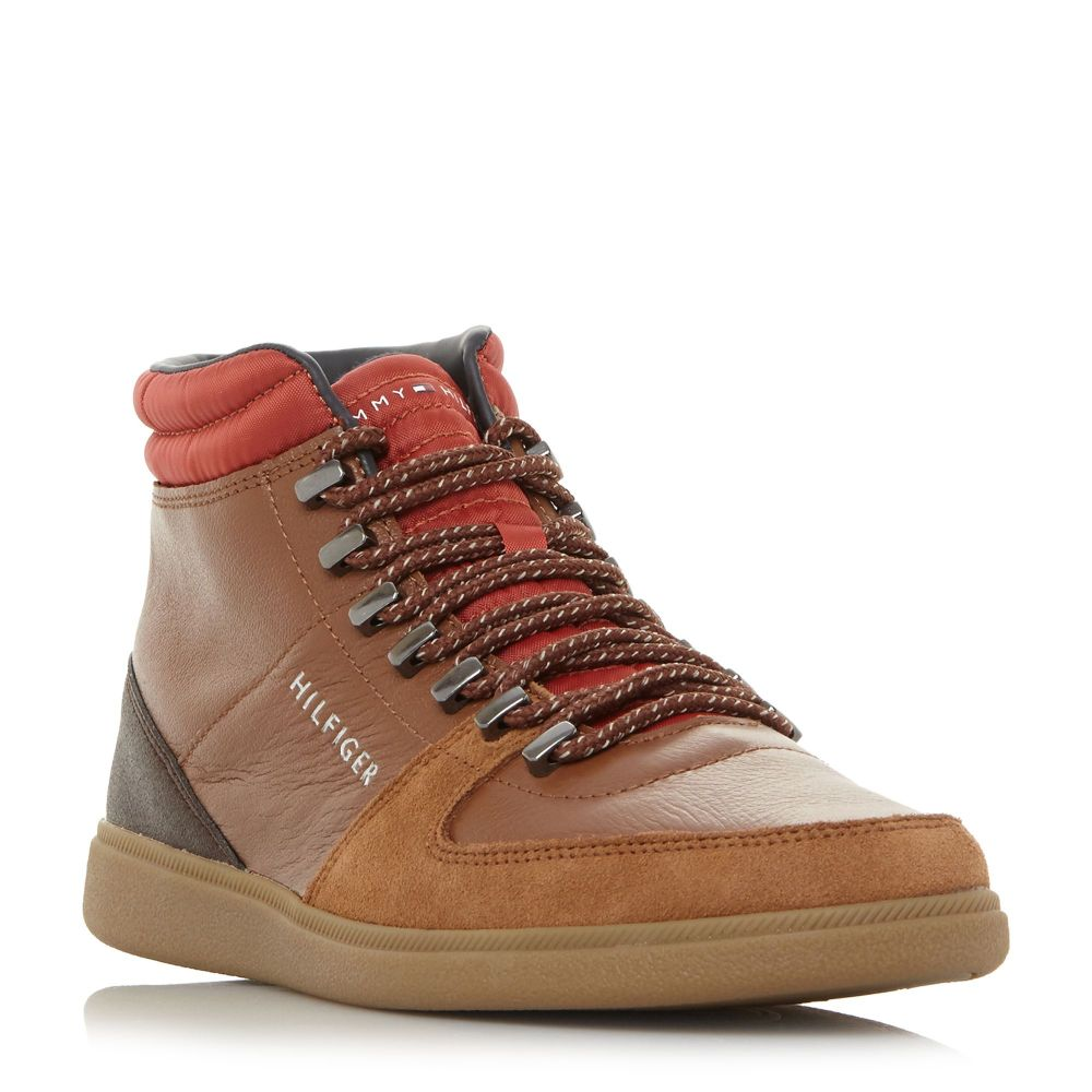 トミー ヒルフィガー Tommy Hilfiger メンズ ハイキング・登山 シューズ・靴【Hiking Hi Top Core Hiking Trainers】brown
