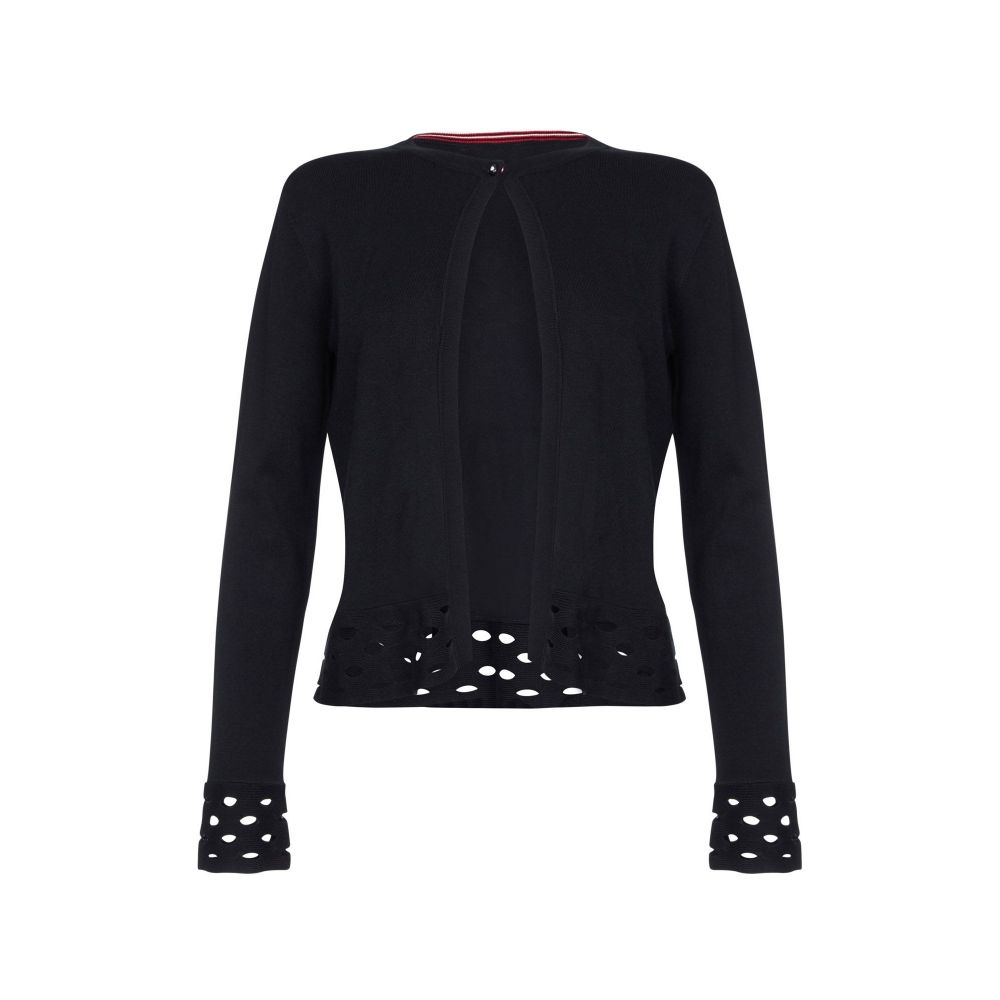 ユミ Yumi レディース トップス カーディガン【Open Stitch Ripple Cardigan】black