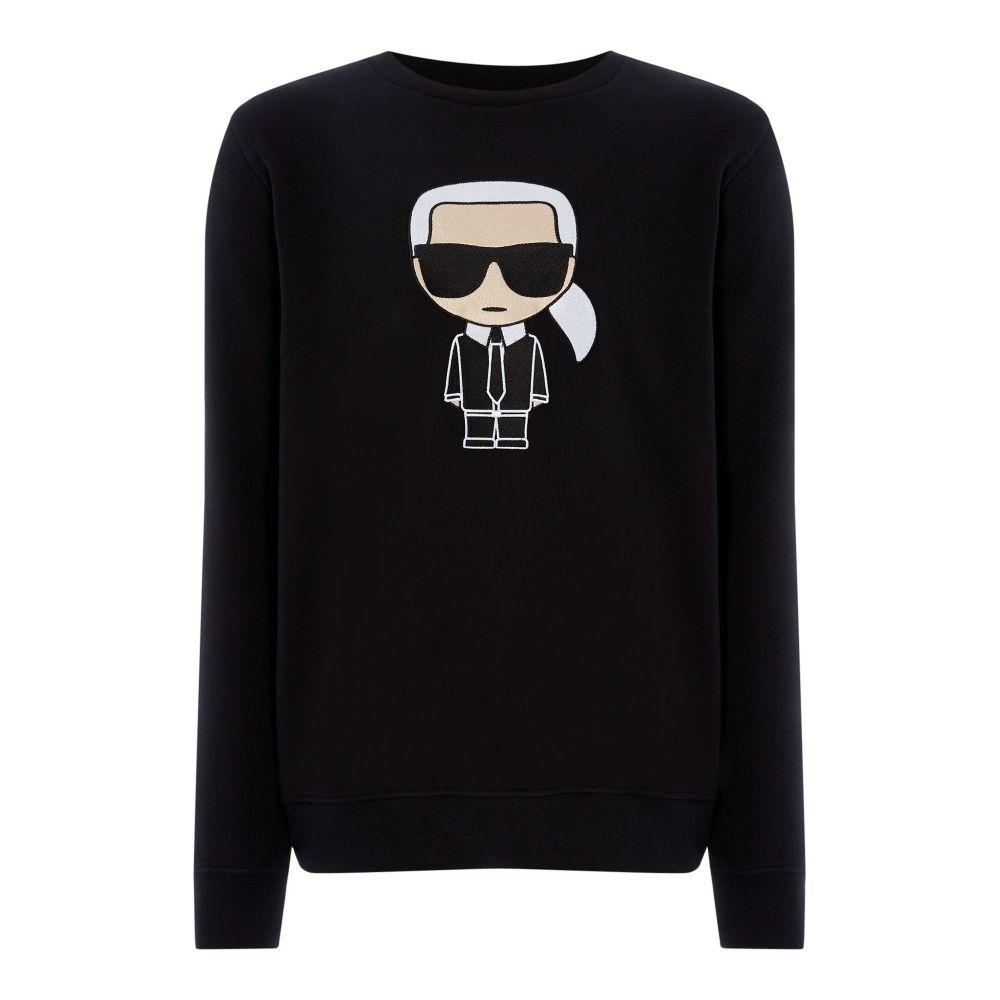 カール ラガーフェルド Karl Lagerfeld メンズ トップス スウェット・トレーナー【Large Caricature Sweat】black