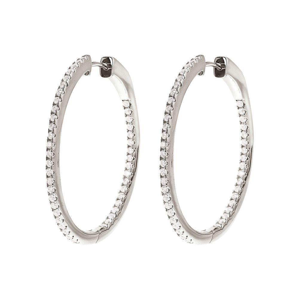 フォリフォリ Folli Follie レディース ジュエリー・アクセサリー イヤリング・ピアス【Fashionably Silver Stone Hoop Earrings】silver
