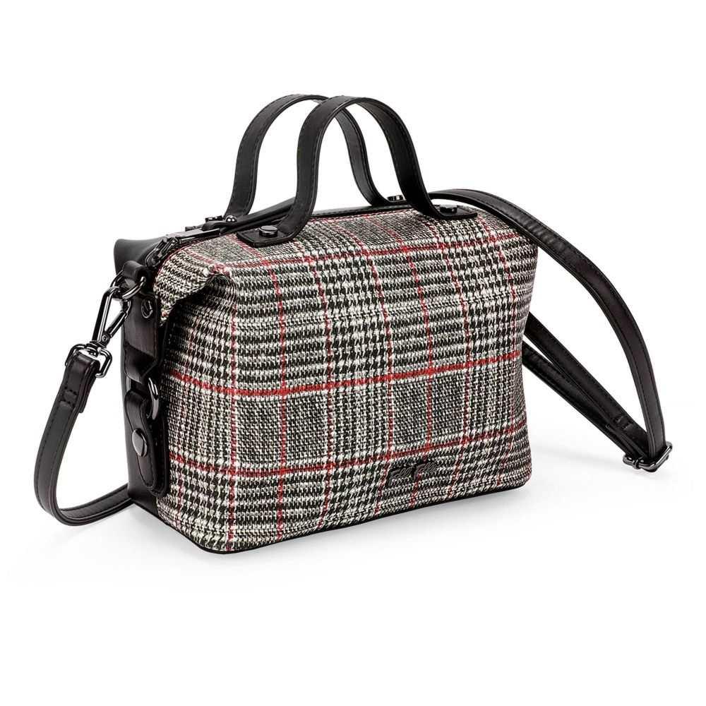 フォリフォリ Folli Follie レディース バッグ ハンドバッグ バッグ【Check Red レディース Tartan grey Small Handbag】black & grey, AROTHO:f7289477 --- nem-okna62.ru