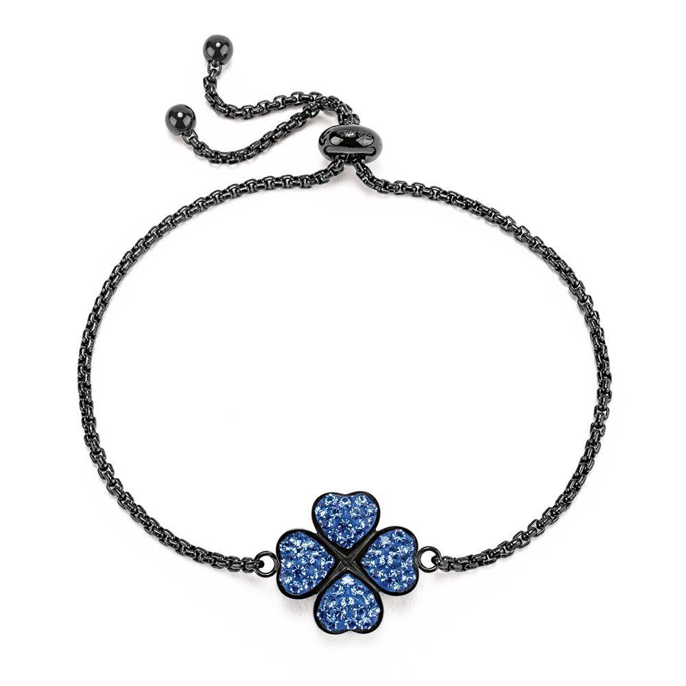 フォリフォリ Folli Follie レディース ジュエリー・アクセサリー ブレスレット【H4h Black Steel & Blue Gemstone Bracelet】black