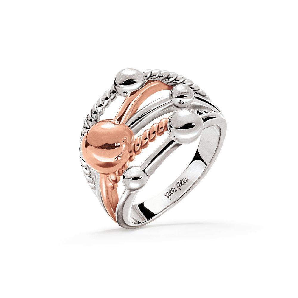 フォリフォリ Folli Follie レディース ジュエリー・アクセサリー 指輪・リング【Style Bonding Silver & Rose Gold Ring】metallic