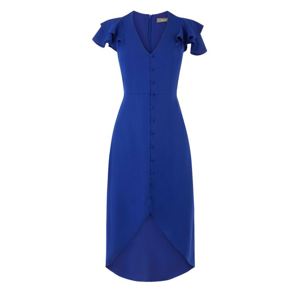 オアシス Oasis レディース ワンピース・ドレス ワンピース【Button Front Midi Dress】blue
